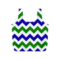 Blue And Green Chevron Pattern Full Print Recycle Bags (s)