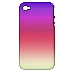 Blue Pink Purple Red Apple Iphone 4/4s Hardshell Case (pc+silicone) by Jojostore