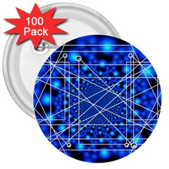 Network Connection Structure Knot 3  Buttons (100 Pack)