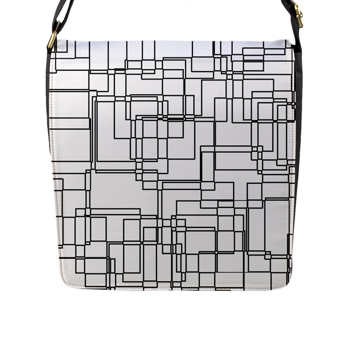 Structure Pattern Network Flap Messenger Bag (L)
