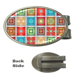 Tiles Pattern Background Colorful Money Clips (oval)