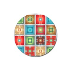Tiles Pattern Background Colorful Magnet 3  (round) by Amaryn4rt