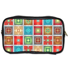 Tiles Pattern Background Colorful Toiletries Bags 2 Side by Amaryn4rt