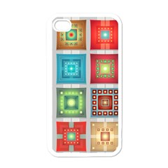 Tiles Pattern Background Colorful Apple Iphone 4 Case (white) by Amaryn4rt