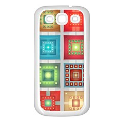 Tiles Pattern Background Colorful Samsung Galaxy S3 Back Case (white)