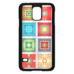 Tiles Pattern Background Colorful Samsung Galaxy S5 Case (black) by Amaryn4rt