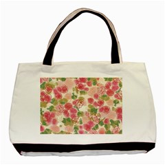 Aquarelle Pink Flower  Basic Tote Bag by Brittlevirginclothing