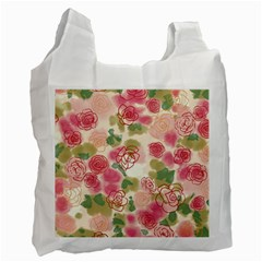 Aquarelle Pink Flower  Recycle Bag (two Side)  by Brittlevirginclothing