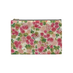 Aquarelle Pink Flower  Cosmetic Bag (medium)  by Brittlevirginclothing