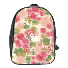 Aquarelle Pink Flower  School Bags(large)  by Brittlevirginclothing