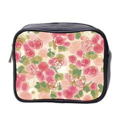 Aquarelle Pink Flower  Mini Toiletries Bag 2 Side by Brittlevirginclothing