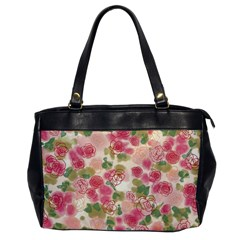 Aquarelle Pink Flower  Office Handbags by Brittlevirginclothing