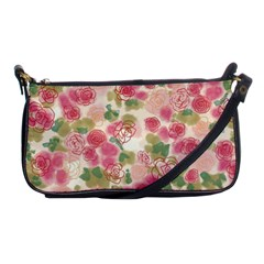Aquarelle Pink Flower  Shoulder Clutch Bags by Brittlevirginclothing