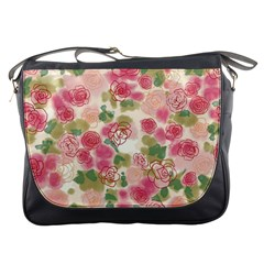 Aquarelle Pink Flower  Messenger Bags by Brittlevirginclothing