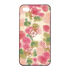Aquarelle  Pink Flower  Apple Iphone 4/4s Seamless Case (black) by Brittlevirginclothing