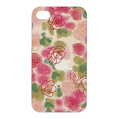 Aquarelle  Pink Flower  Apple Iphone 4/4s Premium Hardshell Case by Brittlevirginclothing