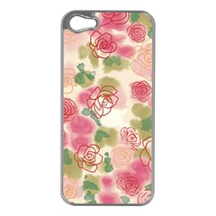 Aquarelle  Pink Flower  Apple Iphone 5 Case (silver) by Brittlevirginclothing