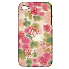 Aquarelle  Pink Flower  Apple Iphone 4/4s Hardshell Case (pc+silicone) by Brittlevirginclothing