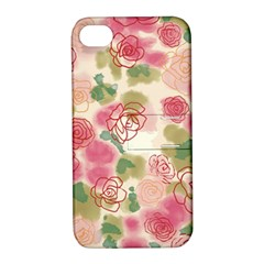 Aquarelle  Pink Flower  Apple Iphone 4/4s Hardshell Case With Stand by Brittlevirginclothing
