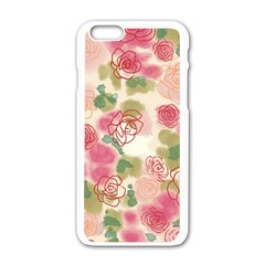 Aquarelle  Pink Flower  Apple Iphone 6/6s White Enamel Case by Brittlevirginclothing