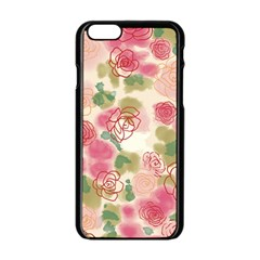 Aquarelle  Pink Flower  Apple Iphone 6/6s Black Enamel Case by Brittlevirginclothing