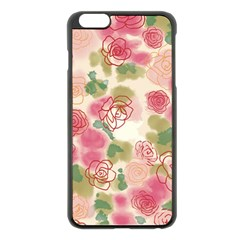 Aquarelle  Pink Flower  Apple Iphone 6 Plus/6s Plus Black Enamel Case by Brittlevirginclothing