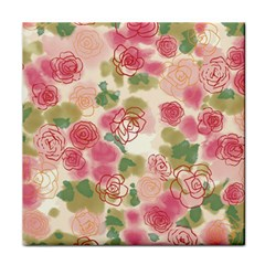 Aquarelle Pink Flower  Tile Coasters by Brittlevirginclothing