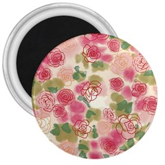 Aquarelle Pink Flower  3  Magnets by Brittlevirginclothing