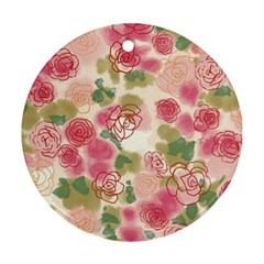 Aquarelle Pink Flower  Ornament (round)  by Brittlevirginclothing