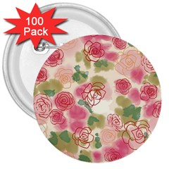Aquarelle Pink Flower  3  Buttons (100 Pack)  by Brittlevirginclothing