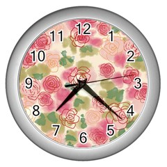 Aquarelle Pink Flower  Wall Clocks (silver)  by Brittlevirginclothing