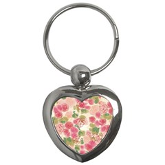 Aquarelle Pink Flower  Key Chains (heart)  by Brittlevirginclothing