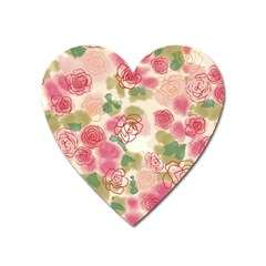 Aquarelle Pink Flower  Heart Magnet by Brittlevirginclothing
