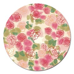 Aquarelle Pink Flower  Magnet 5  (round) by Brittlevirginclothing