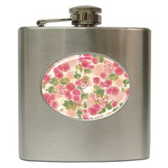 Aquarelle Pink Flower  Hip Flask (6 Oz) by Brittlevirginclothing