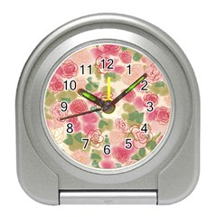 Aquarelle Pink Flower  Travel Alarm Clocks by Brittlevirginclothing