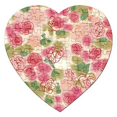 Aquarelle Pink Flower  Jigsaw Puzzle (heart) by Brittlevirginclothing