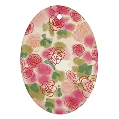Aquarelle Pink Flower  Oval Ornament (two Sides) by Brittlevirginclothing