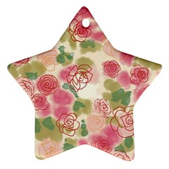 Aquarelle Pink Flower  Star Ornament (two Sides)  by Brittlevirginclothing