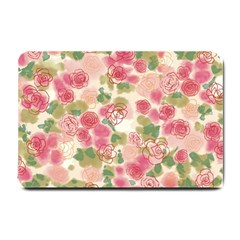 Aquarelle Pink Flower  Small Doormat  by Brittlevirginclothing