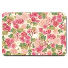 Aquarelle Pink Flower  Large Doormat  by Brittlevirginclothing