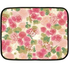 Aquarelle Pink Flower  Fleece Blanket (mini) by Brittlevirginclothing