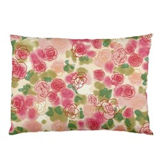 Aquarelle Pink Flower  Pillow Case (two Sides) by Brittlevirginclothing
