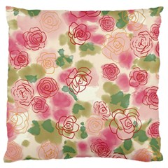 Aquarelle Pink Flower  Large Flano Cushion Case (one Side) by Brittlevirginclothing