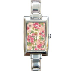 Aquarelle Pink Flower  Rectangle Italian Charm Watch by Brittlevirginclothing