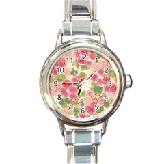 Aquarelle Pink Flower  Round Italian Charm Watch by Brittlevirginclothing