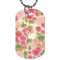 Aquarelle Pink Flower  Dog Tag (two Sides)