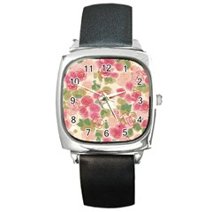 Aquarelle Pink Flower  Square Metal Watch by Brittlevirginclothing