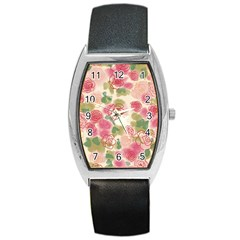 Aquarelle Pink Flower  Barrel Style Metal Watch by Brittlevirginclothing