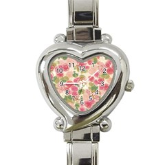 Aquarelle Pink Flower  Heart Italian Charm Watch by Brittlevirginclothing